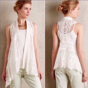 Anthropologie Meadow Rue Draped Lace Vest